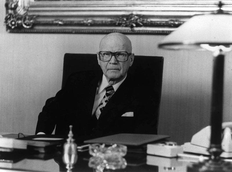 Urho Kaleva Kekkonen  finn politikus, államférfi,  1900. szeptember 3-án született Pielavesiben. Meghalt 1986. augusztus 31-én Helsinkiben. A képen: Urho Kaleva Kekkonen, Finnország köztársasági elnöke.(MTI Fotó/FIN)