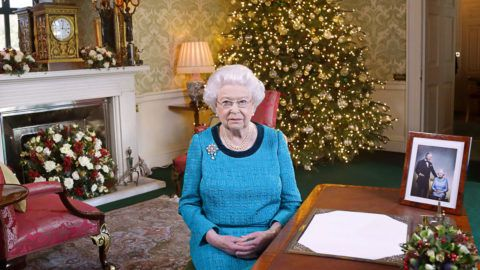 LONDON, ENGLAND - DECEMBER 24: Queen Elizabeth II sits at a desk in the Regency Room after recording her Christmas Day broadcast to the Commonwealth at Buckingham Palace on December 24, 2016 in London, England.  (Photo by Yui Mok - WPA Pool/Getty Images)