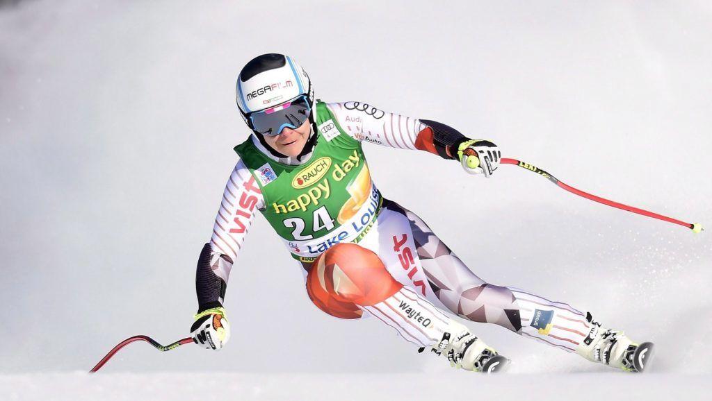 Lake Louise, 2017. december 4.Miklós Edit a női alpesi sízők Világkupa-sorozatának szuperóriás-műlesiklásában a kanadai Lake Louise-ban 2017. december 3-án. (MTI/AP/Frank Gunn/The Canadian Press)