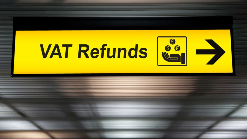 Airport Vat refund and customs sign in terminal at airport