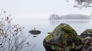 Late fall in Finland. Dark cold foggy morning in the lake