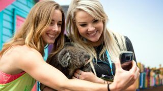 """In this handout picture taken and released on January 10, 2018 by Tennis Australia, Alize Cornet (L) of France takes a selfie with a koala during a visit to Wild Action Zoo ahead of the Australian Open in Melbourne. / AFP PHOTO / TENNIS AUSTRALIA / FIONA HAMILTON / RESTRICTED TO EDITORIAL USE - MANDATORY CREDIT """"AFP PHOTO / TENNIS AUSTRALIA / FIONA HAMILTON"""" - NO MARKETING - NO ADVERTISING CAMPAIGNS - DISTRIBUTED AS A SERVICE TO CLIENTS - NO ARCHIVES"""