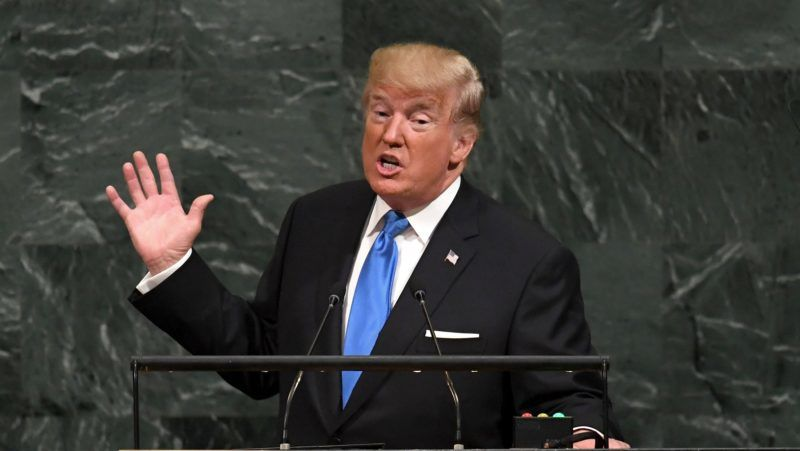 (FILES) This file photo taken on September 19, 2017 shows US President Donald Trump addressing the 72nd Annual UN General Assembly in New York. Donald Trump's first year in office has been a gripping spectacle of scandal, controversy and polarization that has utterly transformed the way Americans and their president interact. Many presidents have tried to bypass a critical media -- from Franklin Roosevelt's fireside chats to Barack Obama's interviews with YouTubers. But Trump has taken that into overdrive on Twitter.From one day to the next, he is rarely out of the headlines or off the air, permeating every facet of public life.  / AFP PHOTO / TIMOTHY A. CLARY
