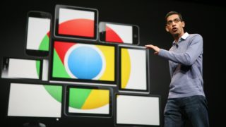 Sundar Pichai, senior vice president of Chrome, speaks at Google's annual developer conference, Google I/O, in San Francisco on June 28, 2012. AFP PHOTO/Kimihiro Hoshino / AFP PHOTO / KIMIHIRO HOSHINO