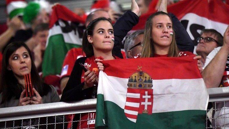Hungary's fans cheer their team during the group D match of the Men's 2018 EHF European Handball Championship between Denmark and Hungary in Varadzin, Croatia on January 13, 2018.   / AFP PHOTO / ATTILA KISBENEDEK