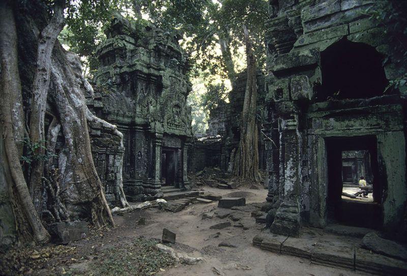 Cambodge, Angkor Thom, temple de Ta Prohm pris par la végétation - Credit: Jacques Sierpinski / Aurimages