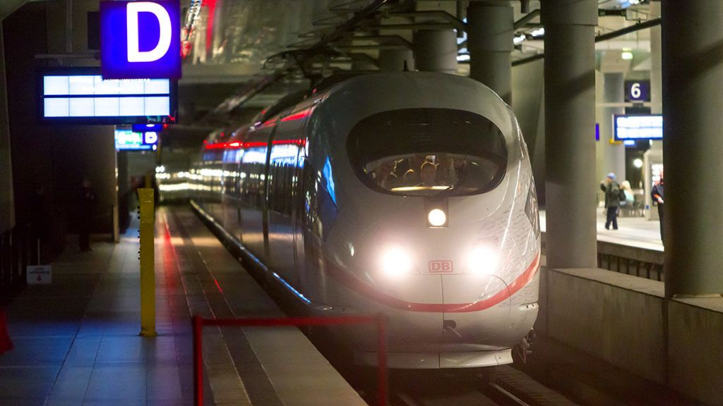 BERLIN, GERMANY - DECEMBER 08: The ICE Inter-City-Express Train arrives at the Berlin Central Train Station or Hauptbahnhof during the first journey of the high speed track that connect the German's capital and Munich in less than 4 hours, in Berlin, Germany on December 08, 2017. Michele Tantussi / Anadolu Agency