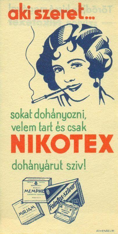NIKOTEX színes reklám számolócédulája, egy dohányzó nő és a termékek ábrázolásával, reklámszöveggel. A kiadványt az ATHENAEUM nyomda készítette.