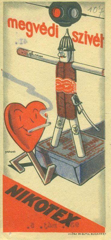 """NIKOTEX  színes reklám számolócédulája, pálcika emberrel, cigarettából és szivarból, mellette egy dohányzó szív ábrázolásával, hozzáillő reklámszöveggel : """"megvédi a szívét..."""". A hátoldalon sorszám- és dátumbélyegzés és a fejlécben reklámszöveg van. A kiadványt a KLÖSZ GY. ÉS FIA BUDAPEST készítette."""