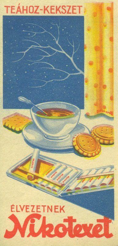 """Nikotex színes reklám számolócédulája, cigarettatárca ábrázolásával, benne Nikotex-es cigaretta, mellette tea,keksz az asztalon, hozzáillő reklámszöveggel: TEÁHOZ-KEKSZET ... ÉLVEZETNEK Nikotexet"""". A hátoldalon a fejlécben szintén reklámszöveg: """"Törődjön kissé magával - szívjon Nikotexet""""."""