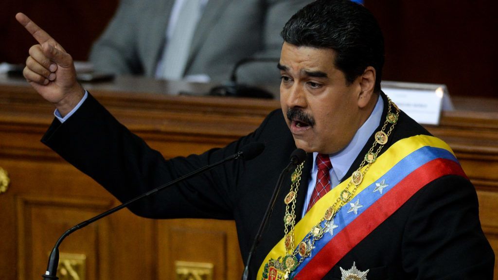 Venezuelan President Nicolas Maduro presents the annual state of the nation report to the National Assembly in Caracas on January 15, 2018. / AFP PHOTO / FEDERICO PARRA