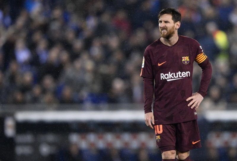 Barcelona's Argentinian forward Lionel Messi grimaces after missing a penalty kick during the Spanish 'Copa del Rey' (King's cup) quarter-final first leg football match between RCD Espanyol and FC Barcelona atthe RCDE Stadium in Cornella de Llobregat on January 17, 2018. / AFP PHOTO / Josep LAGO