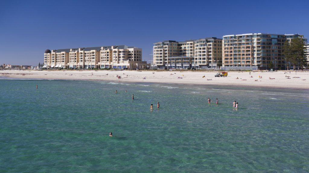 Australia, South Australia, Gelnelg, Waterfront buildings, Glenelg Beach