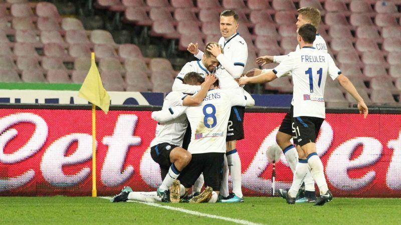 ITALY, Naples: Alejandro Gomez celebrates a goal as Atalanta and Napoli face off during a Coppa Italia soccer match at Stadio San Paolo in Naples, Italy on January 2, 2018. Atalanta won 2-1.