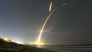 The picture shows SpaceX launch the Falcon 9 rocket with secretive Zuma payload launch into the sky at Cape Canaveral Air Force Station at 8 p.m. on January 7, 2018. The first stage also returned for a successful landing about eight minutes later.