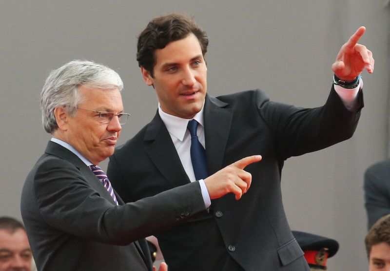20150618 - WATERLOO, BELGIUM: Vice-Prime Minister and Foreign Minister Didier Reynders and Prince Jean-Christophe Napoleon Bonaparte pictured during the official commemoration of the bicentenary of the Battle of Waterloo, Thursday 18 June 2015 in Waterloo. BELGA PHOTO VIRGINIE LEFOUR
