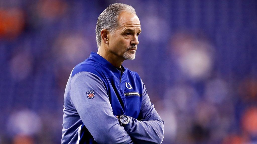 INDIANAPOLIS, IN - DECEMBER 14: Head coach Chuck Pagano of the Indianapolis Colts looks on prior to the game against the Denver Broncos at Lucas Oil Stadium on December 14, 2017 in Indianapolis, Indiana.   Michael Reaves/Getty Images/AFP
