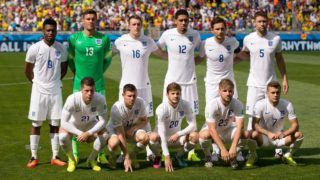 England team ( Back row left to right: Daniel Sturridge, Ben Foster, Phil Jones, Chris Smalling, Frank Lampard, Gary Cahill, front row: Ross Barkley, James Milner, Adam Lallana, Luke Shaw, Jack Wilshere ) before the 2014 FIFA World Cup football match Group D between Costa Rica and England on June 24, 2014 at Mineirao stadium in Belo Horizonte, Brazil. Photo Ben Queenborough / Backpage Images / DPPI