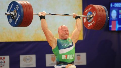 SPLIT, CROATIA - APRIL 07 : Aurimas Didzbalis of Lithuania makes an attempt during the Men's Final 94 kg competition of the Weightlifting European Championships 2017 in Split, Croatia on April 07, 2017.  Stringer / Anadolu Agency