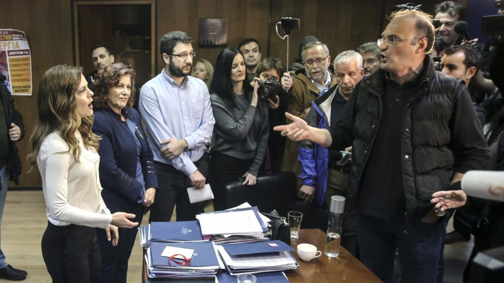 ATHENS, GREECE - JANUARY 9: Greek Labor Minister Efi Achtsioglou (L) speaks with All Workers Militant Front (PAME) members after they occupied the Greek Labor Ministry to protest the proposed law limiting the labourers' strike rights in Athens, Greece on January 9, 2018. PAME members demanded withdrawal of the proposed law from the Achtsioglou.     Ayhan Mehmet / Anadolu Agency