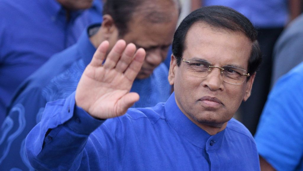 Sri Lankan president Maithripala Sirisena greets his supporters during a rally at Anuradhapura, Sri Lanka on Wednesday  10 January 2017.   President Sirisena attended the inaugural rally of the series of public election rallies organized by the Sri Lanka Freedom Party (SLFP) led United Peoples Freedom Alliance (UPFA).  (Photo by Tharaka Basnayaka/NurPhoto)