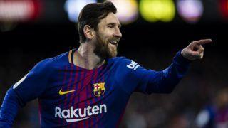 BARCELONA, SPAIN - JANUARY 07: Leo Messi from Argentina of FC Barcelona celebrating his goal during the La Liga match between FC Barcelona v Levante at Camp Nou Stadium in Barcelona on 07 of January, 2018.  (Photo by Xavier Bonilla/NurPhoto)