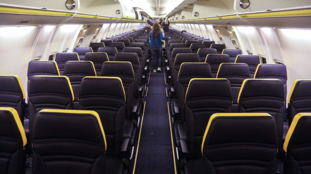 Ryanair low cost airline changes the cabin baggage policy from Monday 15 January 2018. Passengers should buy priority boarding in order to get their cabin bags on board. Otherwise they are forced to deliver their bigger cabin bag in the gate to be placed in the hold, free of charge, the cargo compartment in the airplane. Ryanair allows for the moment for free 2 cabin luggages, one larger 55cmX40cmx20cm free of charge and a smaller 35cm x 20cm x 20cm. So the larger will be held, in case that the passenger wants it on board or is over-sized a fee of 50euro will be fined. (Photo by Nicolas Economou/NurPhoto)