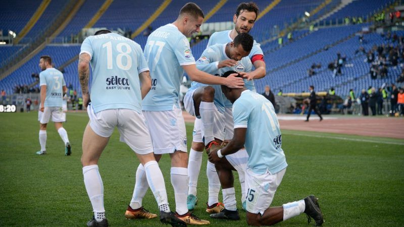 Jacinto Bastos celebrates after scoring 4-1 with Nani  during the Italian Serie A football match between S.S. Lazio and Chievo at the Olympic Stadium in Rome, on january 21, 2018. (Photo by Silvia Lore/NurPhoto)