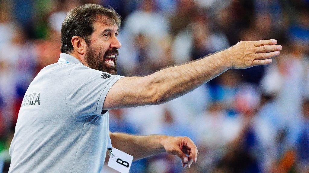 Veselin Vujovic Slovenian coach during the 2018 EHF Men's European Handball Championship qualification match between Slovenia and Germany in Arena Stozice, Ljubljana on May 3, 2016.  (Photo by Damjan Zibert/NurPhoto)