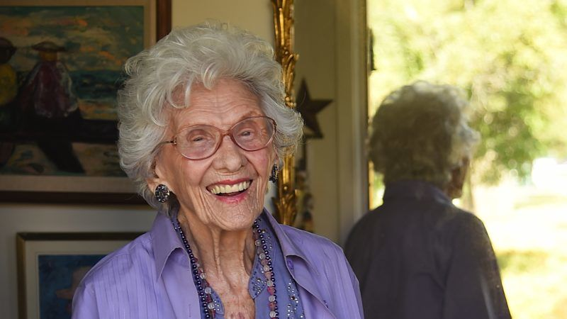 Working actress Connie Sawyer, 103, poses at her home in the retirement community of the Motion Picture Television Fund (MPTF), May 16, 2016 in Woodland Hills, California, about 22 miles (35 km) west of Hollywood. The residential retirement community serves actors as well as behind-the-scenes members of the entertainment industry. / AFP PHOTO / Robyn BECK