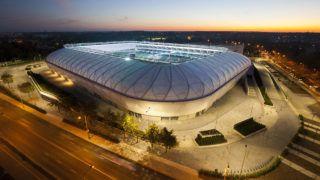 Szombathely, 2017. október 18.A szombathelyi Haladás 15,6 milliárd forintos költséggel felépült új sportkomplexumának 9000 férőhelyes, UEFA IV-es besorolású, teljesen fedett lelátóval rendelkező futballpályája a bemutató napján, 2017. október 18-án.MTI Fotó: Varga György