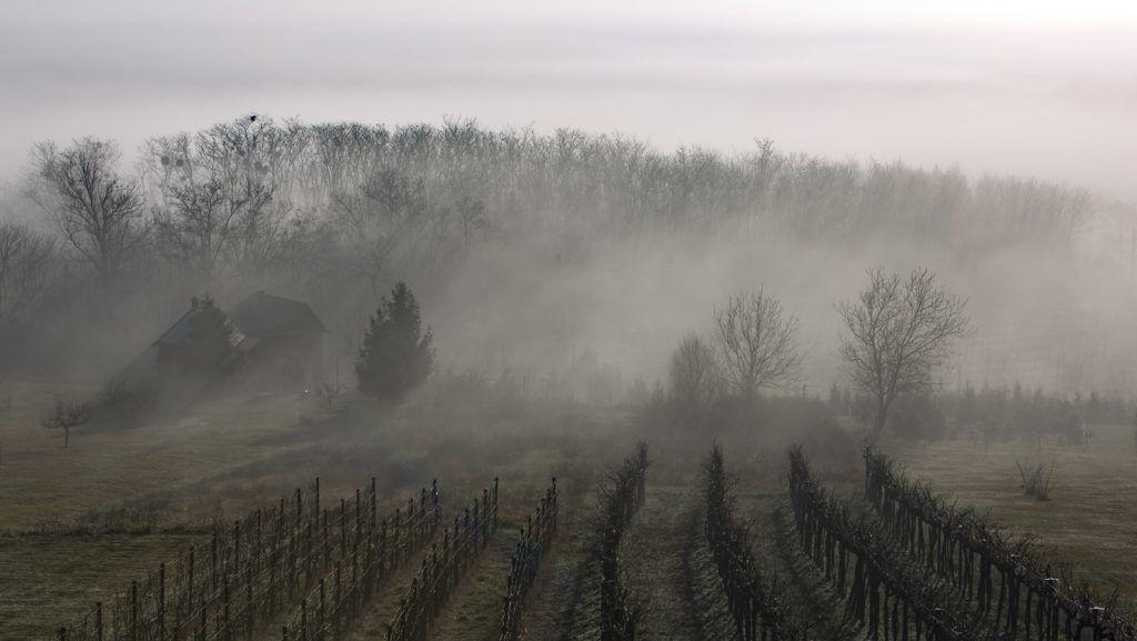 Becsehely, 2018. január 8. Köd gomolyog a dombok között a Zala megyei Becsehelynél 2018. január 8-án. MTI Fotó: Varga György