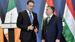 Budapest, 2018. január 4. Leo Varadkar ír (b) és Orbán Viktor magyar miniszterelnök a Parlamentben, miután újságíróknak nyilatkoztak 2018. január 4-én. MTI Fotó: Illyés Tibor