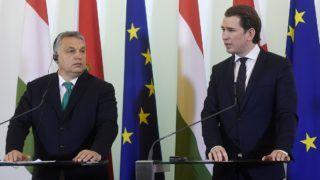 Bécs, 2018. január 30. Orbán Viktor miniszterelnök (b) és Sebastian Kurz osztrák kancellár sajtótájékoztatót tart a bécsi kancellárián 2018. január 30-án. MTI Fotó: Koszticsák Szilárd