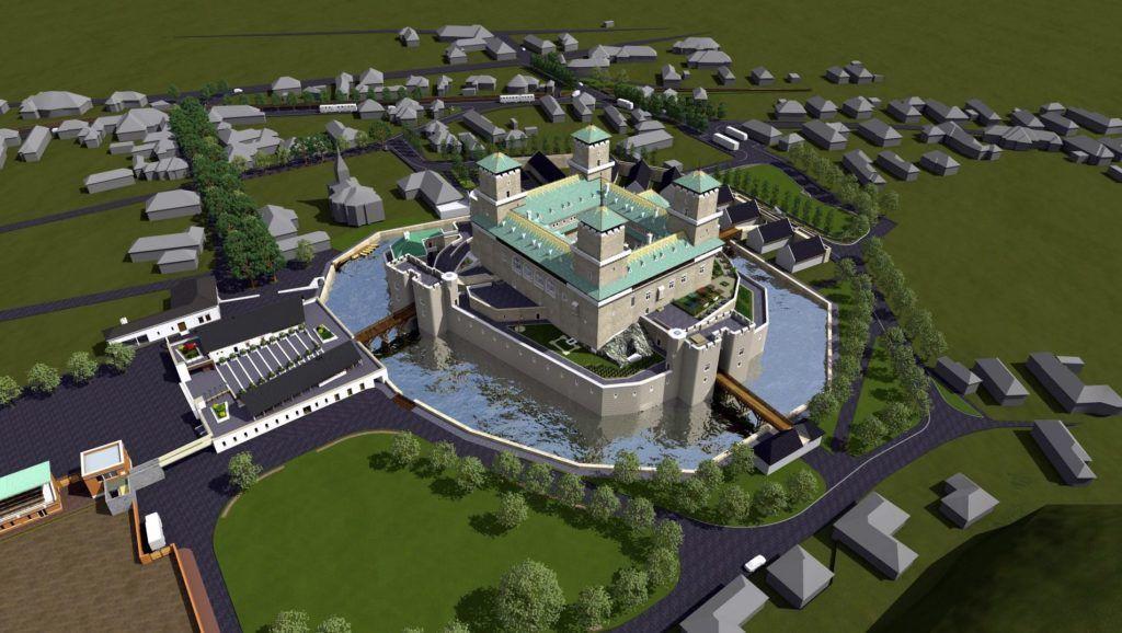 Miskolc, 2018. január 29. A miskolci polgármesteri hivatal által 2018. január 29-én közreadott látványterven a diósgyõri vár tervezett rekonstrukciója látható. Idegenforgalmi, ipari, közbiztonsági és infrastrukturális fejlesztések valósulnak meg állami forrásból a Modern városok program keretében Miskolcon és térségében mintegy 327 milliárd forint értékben. A programban kerül sor a diósgyõri vár rekonstrukciójára is. MTI Fotó