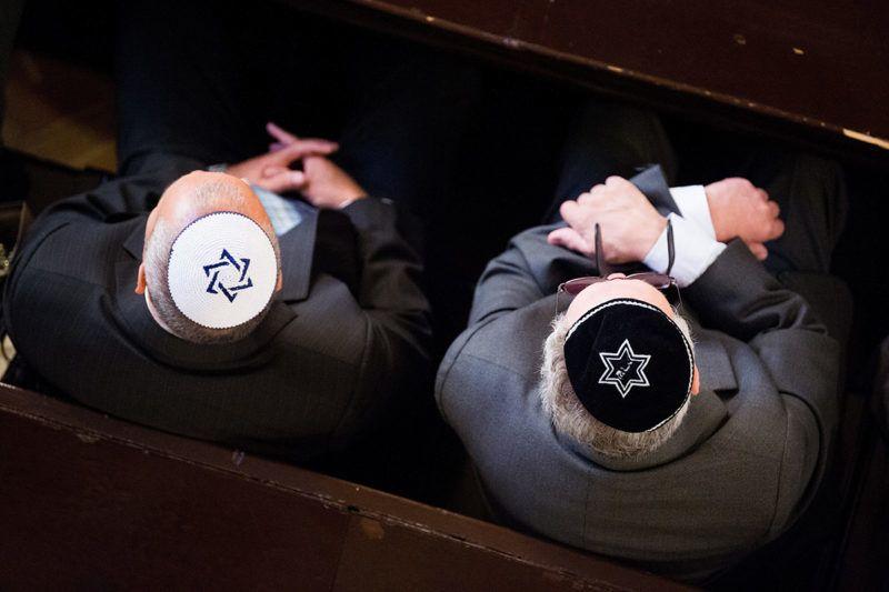 Budapest, 2017. szeptember 5.Résztvevők az Országos Rabbiképző - Zsidó Egyetem zsinagógájában tartott rabbi- és rabbihelyettes-avatáson 2017. szeptember 5-én.MTI Fotó: Balogh Zoltán