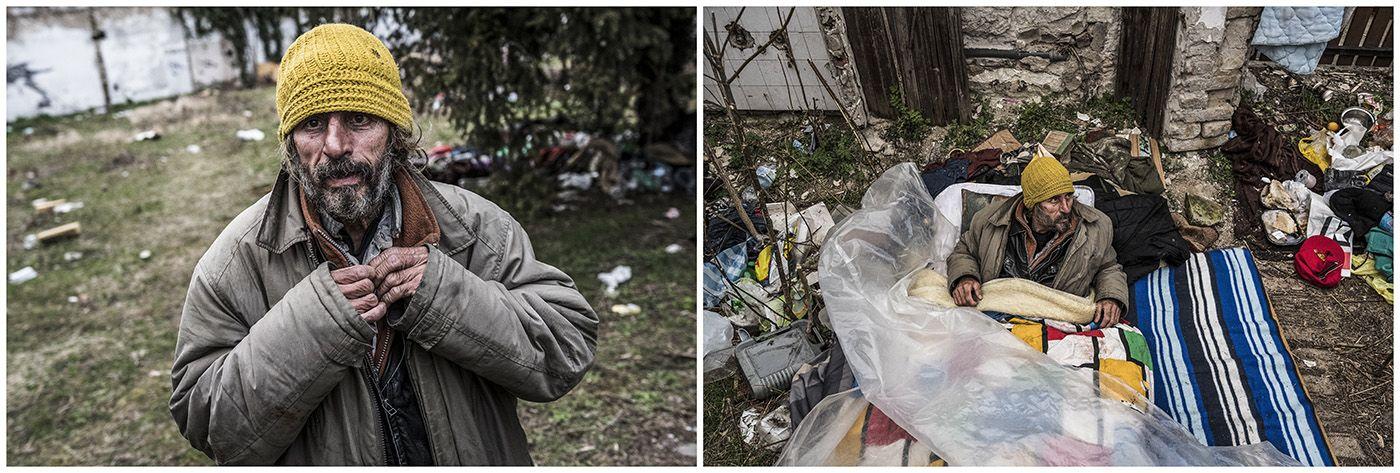Budapest, 2018. január 11.A kombóképen egy hajléktalan férfi és lakhelye Budapesten 2017. március 19-én.MTI Fotó: Mónus Márton