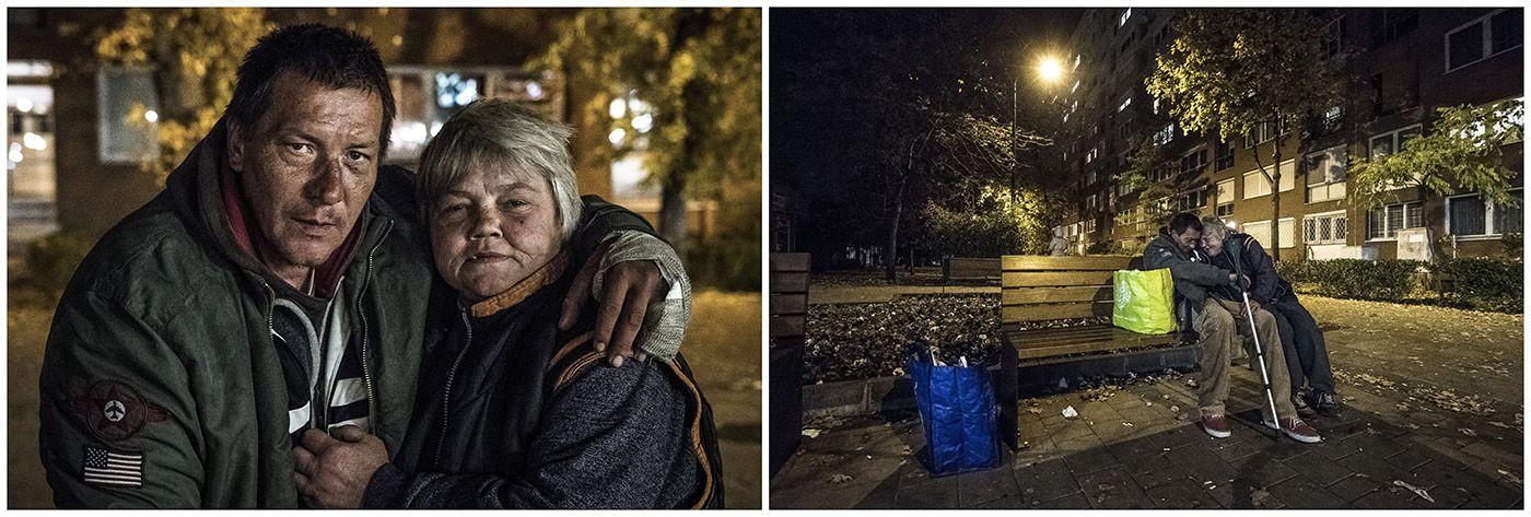 Budapest, 2018. január 11.A kombóképen egy hajléktalan pár és a lakhelyükként szolgáló pad Budapesten 2017. november 6-án.MTI Fotó: Mónus Márton