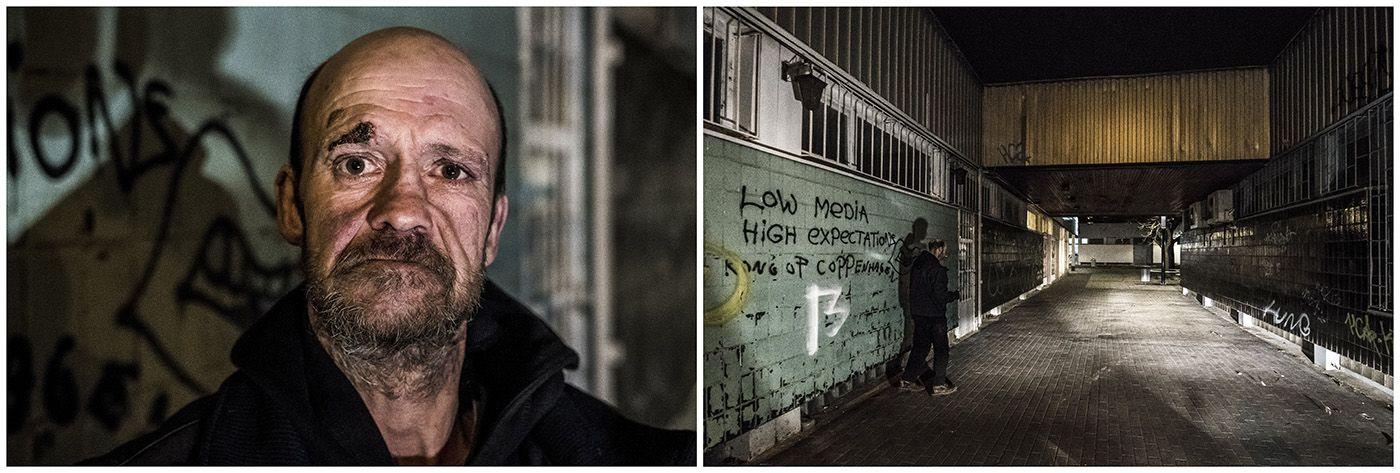 Budapest, 2018. január 11.A kombóképen egy hajléktalan férfi és lakhelye Budapesten 2017. december 11-én.MTI Fotó: Mónus Márton