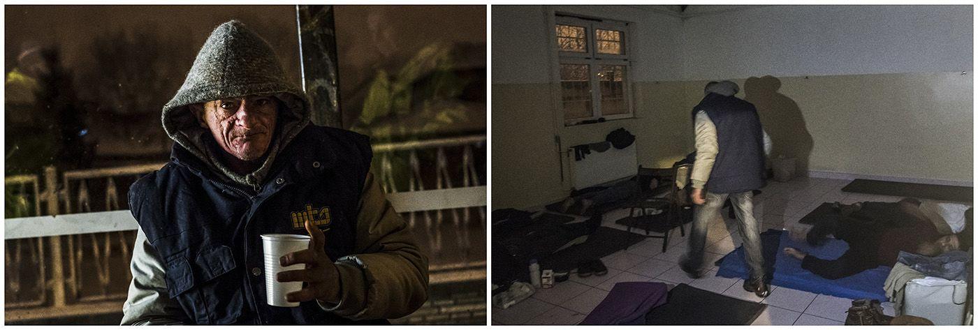 Budapest, 2018. január 11.A kombóképen egy hajléktalan férfi és lakhelye egy fővárosi hajléktalanszállón Budapesten 2017. január 14-én.MTI Fotó: Mónus Márton