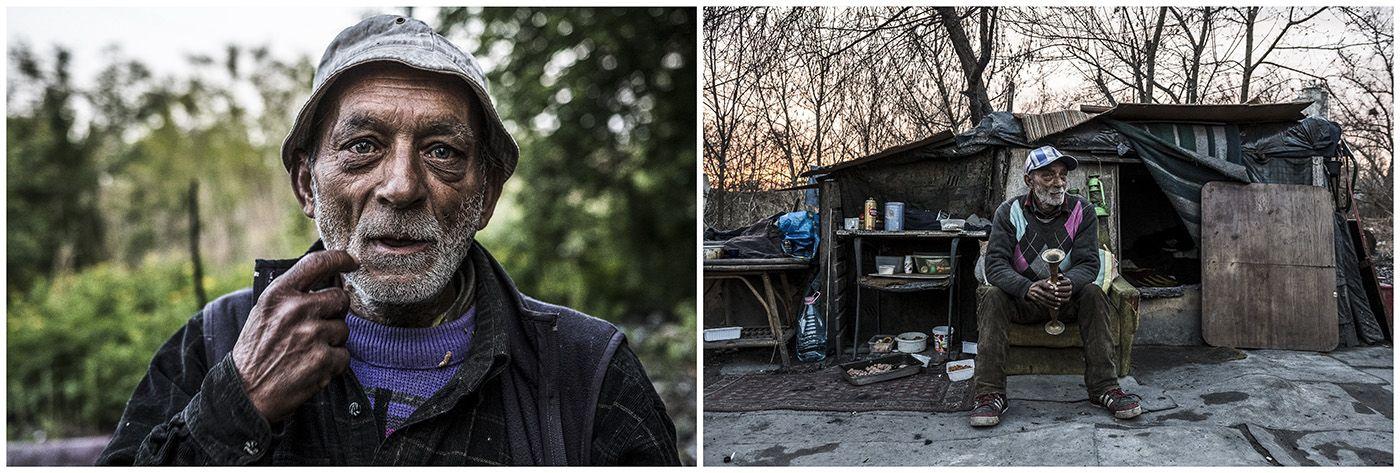 Budapest, 2018. január 11.A kombóképen egy hajléktalan férfi 2017. április 24-én, valamint a lakhelyéül szolgáló viskó Budapesten 2017. március 8-án.MTI Fotó: Mónus Márton