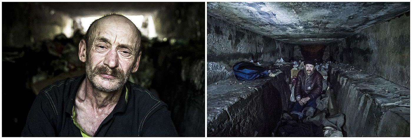 Budapest, 2018. január 11.A kombóképen egy hajléktalan férfi 2017. június 6-án, valamint a lakhelyéül szolgáló alagút Budapesten 2017. március 7-én.MTI Fotó: Mónus Márton