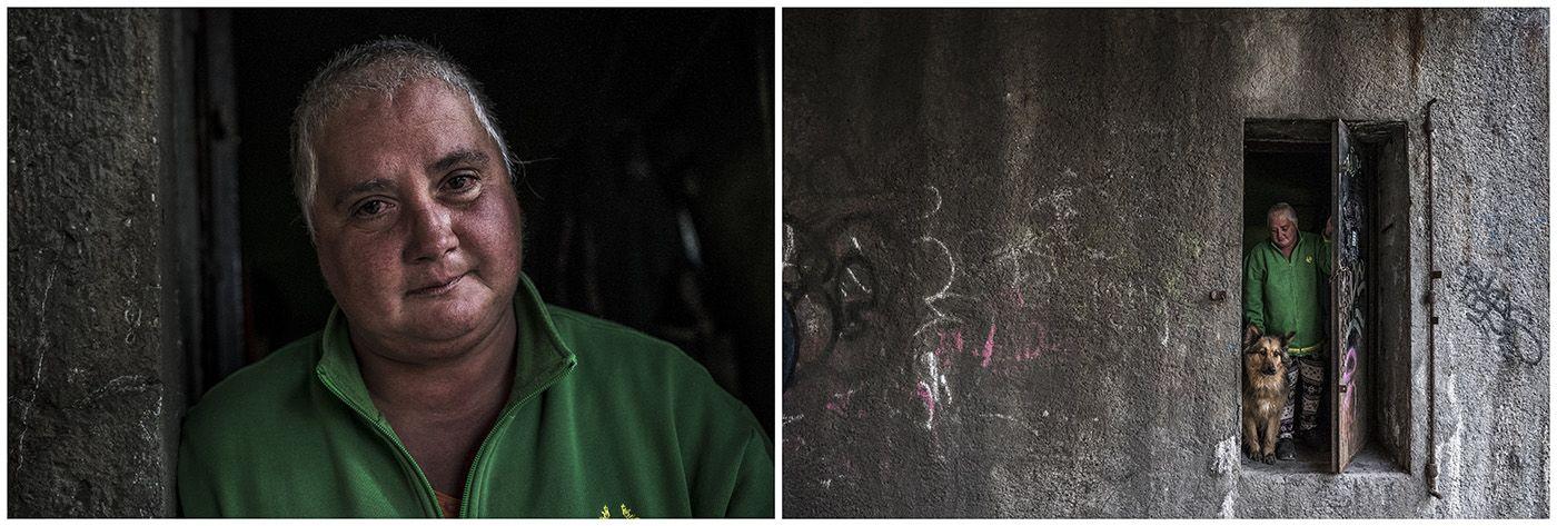 Budapest, 2018. január 11.A kombóképen egy hajléktalan nő és kutyája, valamint a lakhelyükként szolgáló elhagyatott hídmesteri lakás Budapesten 2017. április 25-én.MTI Fotó: Mónus Márton