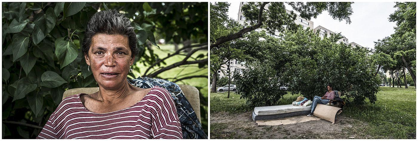 Budapest, 2018. január 11.A kombóképen egy hajléktalan nő és lakhelye egy fővárosi parkban 2017. június 6-án.MTI Fotó: Mónus Márton