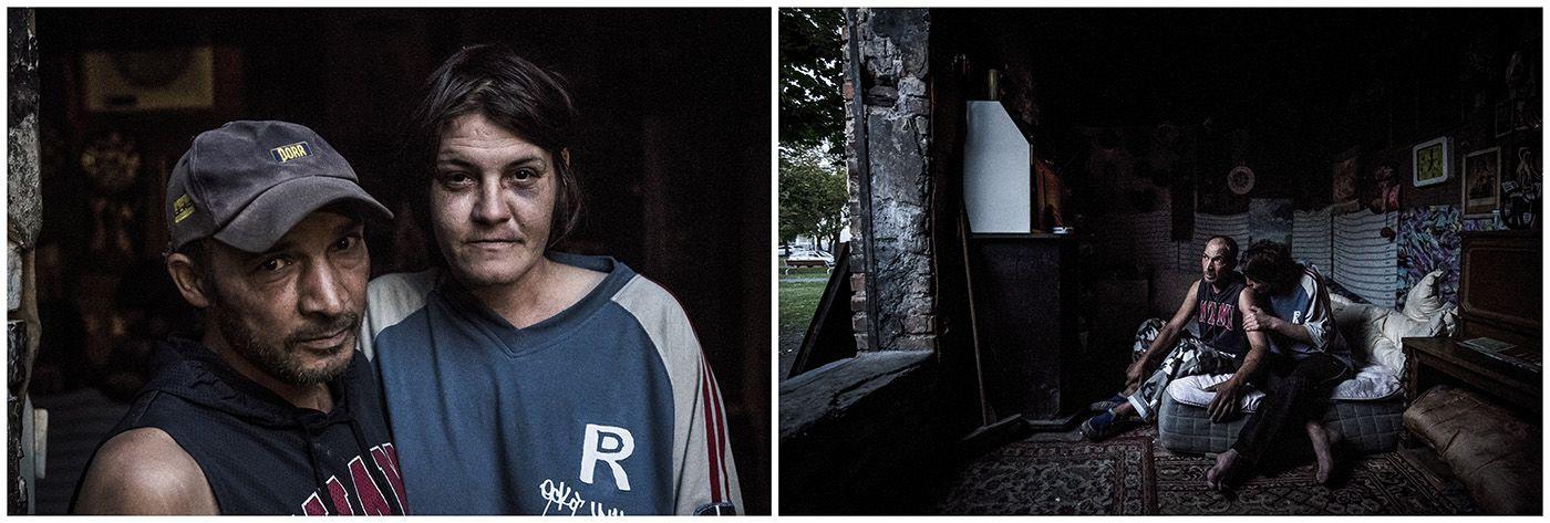 Budapest, 2018. január 11.A kombóképen egy hajléktalan pár és a lakóhelyükként szolgáló elhagyatott trafóház Budapesten 2017. szeptember 18-án.MTI Fotó: Mónus Márton