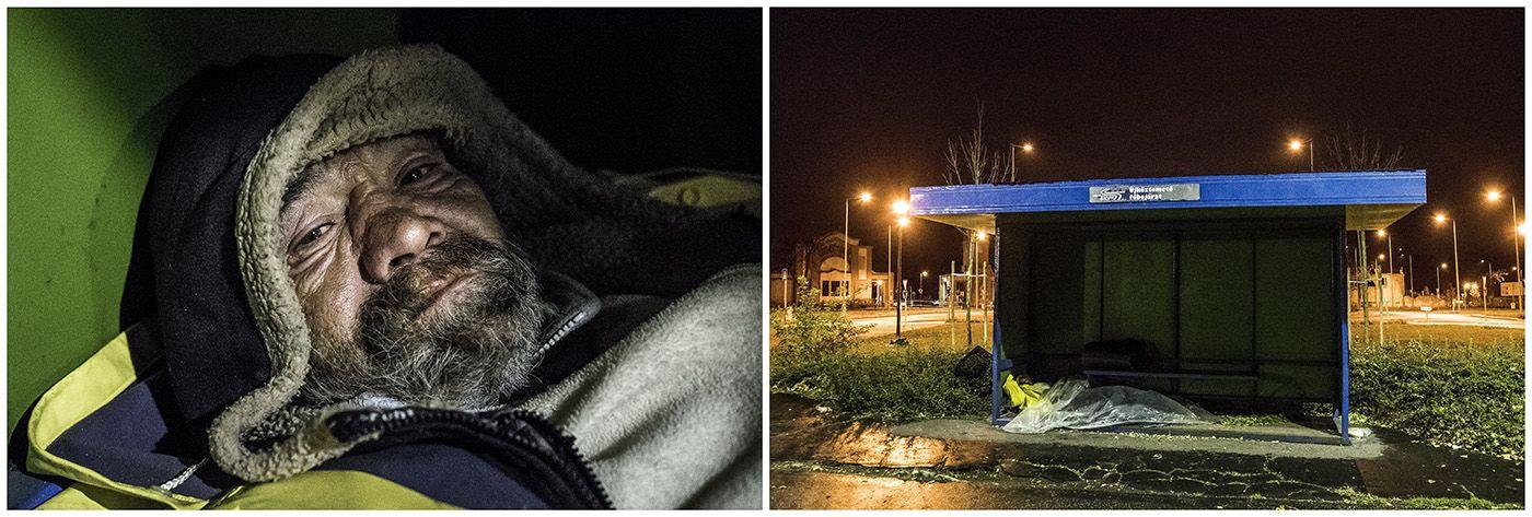 Budapest, 2018. január 11.A kombóképen egy hajléktalan férfi és a lakhelyéül szolgáló villamosmegálló Budapesten 2017. november 1-jén.MTI Fotó: Mónus Márton