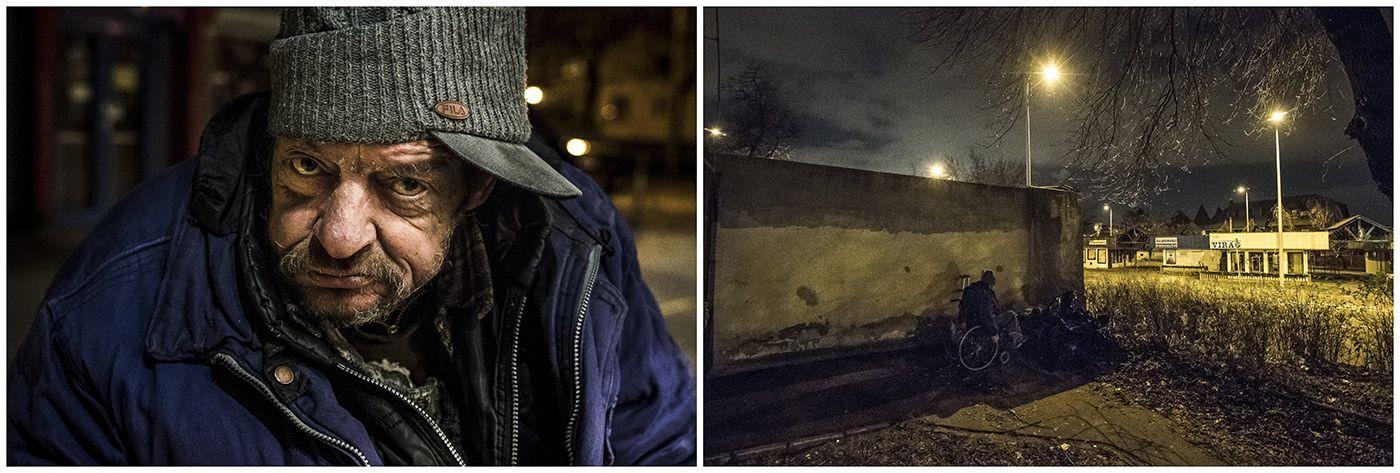 Budapest, 2018. január 11.A kombóképen egy hajléktalan férfi és lakhelye Budapesten 2017. december 6-án.MTI Fotó: Mónus Márton