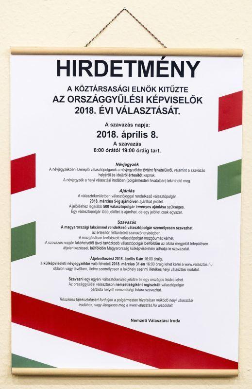 Budapest, 2018. január 11. A Nemzeti Választási Iroda (NVI) választási hirdetménye az április 8-ai országgyûlési választásról tartott sajtótájékoztatón a szervezet fõvárosi székházában 2018. január 11-én. Az NVI felkészült a parlamenti választás lebonyolítására. MTI Fotó: Szigetváry Zsolt