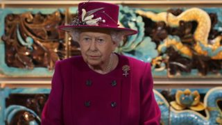 (FILES) This file photo taken on November 08, 2017 shows Britain's Queen Elizabeth II gestures at the reopening of the Sir Joseph Hotung Gallery of China and South Asia at the British Museum in central London on November 8, 2017. Queen Elizabeth II's luxury lingerie maker Rigby & Peller has lost its royal warrant, an official said on January 11, 2018, after its former owner published a book revealing details of the royal bra fittings. / AFP PHOTO / POOL / Daniel LEAL-OLIVAS