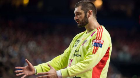 COLOGNE, GERMANY - JUNE 04: Goalkeeper Mirko Alilovic reacts during the VELUX EHF FINAL4 3rd place match between Telekom Veszprem and FC Barcelona Lassa at Lanxess Arena on June 4, 2017 in Cologne, Germany. (Photo by Lukas Schulze/Getty Images)